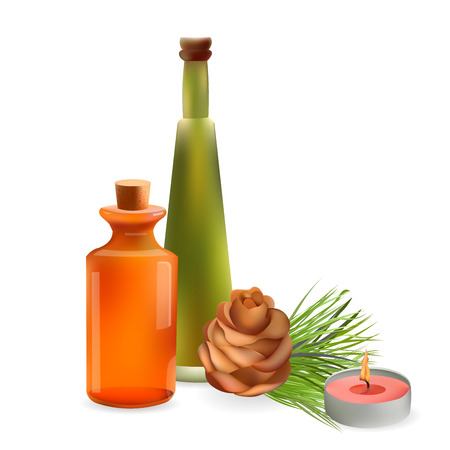 fir cone: Glass Cosmetic Bottles and Candle with Fir and Cone. Vector Isolated  Illustration. Template Elements for Cosmetic Shop, Spa Salon, Beauty Products Package, Medical Care Treatment.