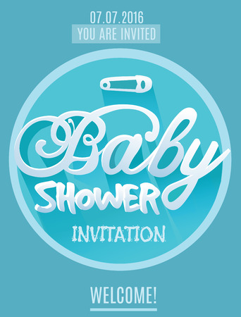 Vector Baby Shower Invitation for Boy. Blue Color.  Printed Template for Cards, Vouchers, Invitations, Festivals, Parties, Celebrations.