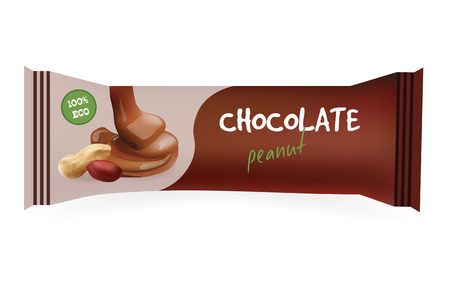 chocolate bar: Chocolate Bar with Peanut. Mock-Up For Your Design and Branding. Snak Wrapper Template.Food Packaging. Vector Illustration.