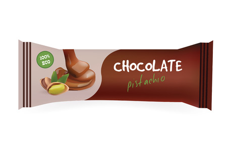 wrapper: Chocolate Bar with Pistachio. Mock-Up For Your Design and Branding. Snak Wrapper Template.Food Packaging. Vector Illustration.?