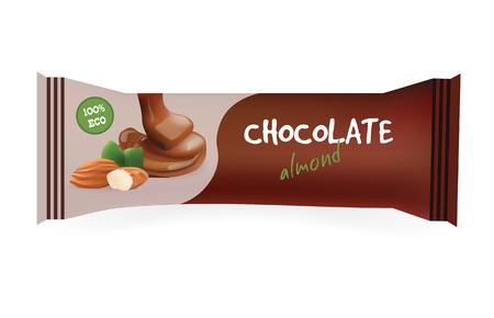 Barra de chocolate con almendras. Mock-up para su diseño y desarrollo de marcas. Embalaje Snak Envoltura Template.Food. Ilustración del vector.