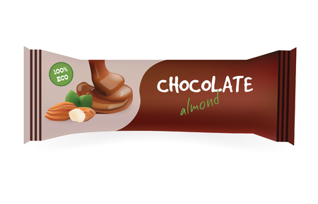 chocolate bar: Chocolate Bar with Almond. Mock-Up For Your Design and Branding. Snak Wrapper Template.Food Packaging. Vector Illustration.
