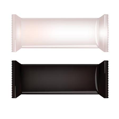 Wit en zwart Blanco Food Packaging Voor Biscuit, Wafer, crackers, snoep, Chocolate Bar, Candy Bar, Snacks. Design Template. Geïsoleerd op een witte achtergrond. Wrapper Mock-up.