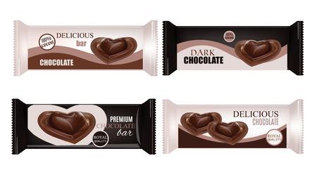 Vector de Envasado de Alimentos Para galletas, obleas, galletas, dulces, Bar chocolate, barra de caramelo, bocados. Diseño barra de chocolate aisladas sobre fondo blanco. Líquido del corazón del caramelo de chocolate. Ilustración de vector