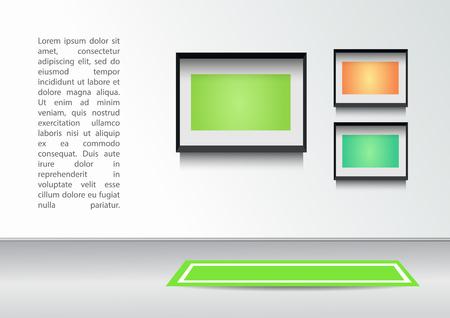 white carpet: Empty Interior with white wall, white carpet, frame