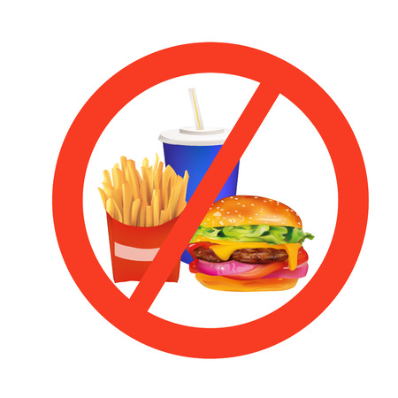 food additives: realistic fast food danger isolated illustration