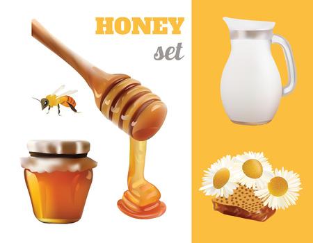 wooden stick: Vector Honey Set Realistic Illustration. Jar,Bank, Bee, Honeycomb,Chamomile,Honey Pouring From Wooden Stick Design Illustration