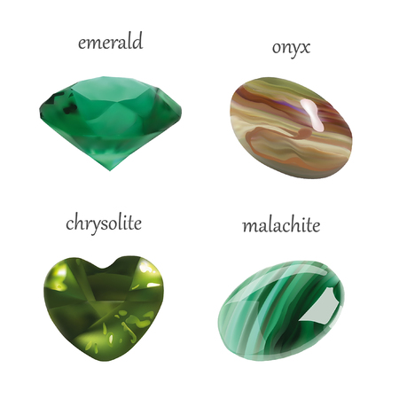 onyx: Vector Realistic Gems Jewelry Stones Collection. Isolated On White Background