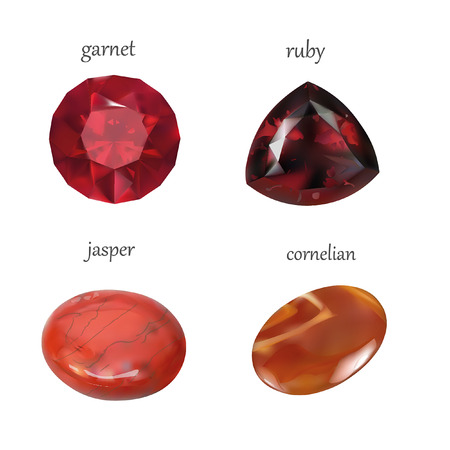 emerald gemstone: Vector Realistic Gems Jewelry Stones Collection. Isolated On White Background