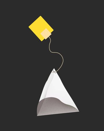 ceylon: Tea Bag Illustration with Label In Pyramid Shape. Vector Template Illustration For Your Design. Isolated On White Background. Illustration