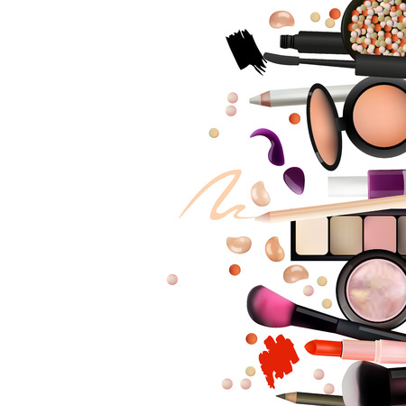 Make Up Artist Objects. lipstick, eye shadows, eyeliner, concealer, nail polish, brushes,pencils, palettes, powder. Vector Beautiful Background. Realistic Vector Design.