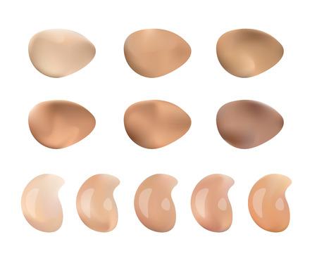 Vektor-Illustration der Farbe Schatten Palette für Foundation Make Up. Isoliert auf weißem Hintergrund. Vektorgrafik