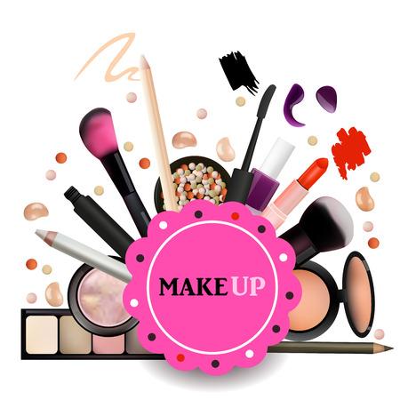 Make Up Artist Objects. lipstick, eye shadows, eyeliner, concealer, nail polish, brushes,pencils, palettes, powder. Vector Emblem. Realistic Vector Design. Illustration