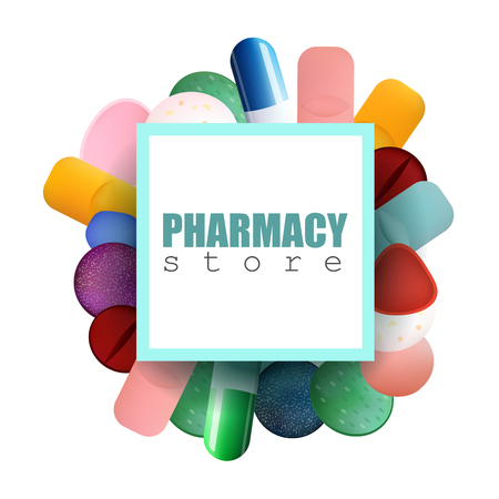 pharmacy store: Different Colorful Medicine Pills and Capsules with Pharmacy Store Inscription. Vector Illustration for Card, Store, Magazine, Shop, Poster or Advertisement.