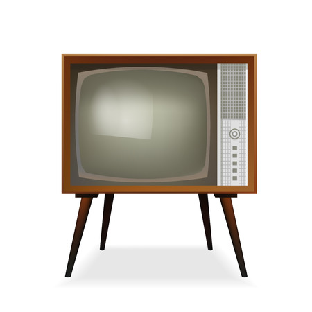 Retro TV. Vintage TV. Old TV Set. Vector Illustration. Isolated On White Background. Realistic Icon.