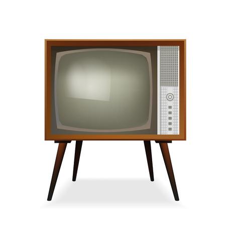 Retro TV. Vintage TV. Viejo televisor. Ilustración del vector. Aislado en el fondo blanco. Icono realista. Ilustración de vector