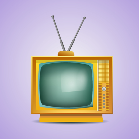 tv set: Retro TV. Vintage TV. Old TV Set. Vector Illustration. Yellow Color. Isolated  Icon.