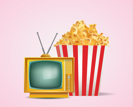 retro tv: Old Retro Tv with Pop Corn in Stripped Tube Package
