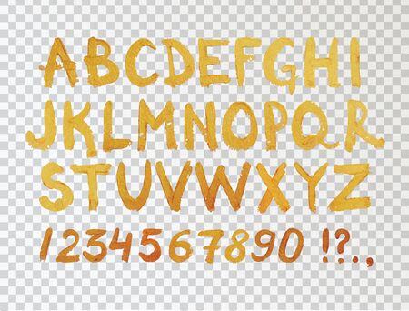 numbers background: Golden Hand Drawn Font. Hand Written Foil Modern Alphabet and Numbers. Vector Design Symbols on Transparent Background. Illustration