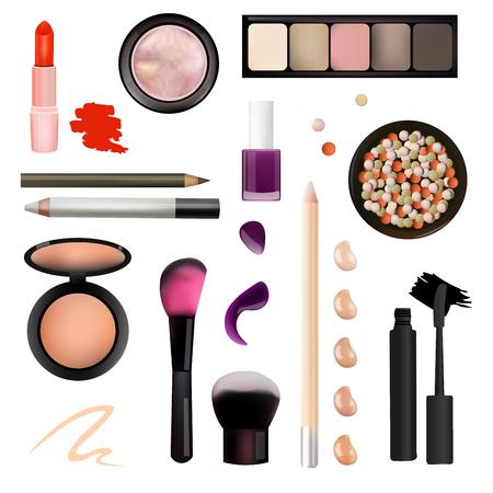 make up artist: Make Up Artist Objects. lipstick, eye shadows, eyeliner, concealer, nail polish, brushes,pencils, palettes, powder. Isolated on White Background Vector Illustration. Realistic Design.