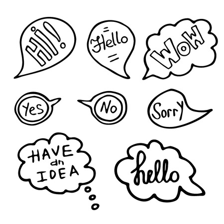 ine: Hand Drawn Speech Bubbles with Words. Doodle Style, Vector illustration.