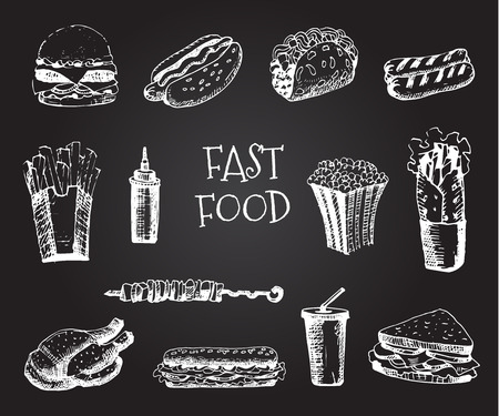 sandwiche: Set with fast food hand drawn illustration. Sketch vector illustration. Fast food restaurant, fast food menu. Hamburger, hot dog, sandwich, snack,  french fries, taco, burger, sauce, pop corn Illustration
