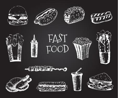 sandwiche: Set with fast food hand drawn illustration. Sketch vector illustration. Fast food restaurant, fast food menu. Hamburger, hot dog, sandwich, snack,  french fries, taco, burger, sauce, pop corn Illustration