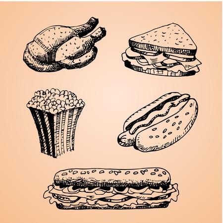 sandwiche: Set with fast food hand drawn illustration. Sketch vector illustration. Fast food restaurant, fast food menu. Chicken, Sandwich, Pop Corn, Hot Dog, Taco