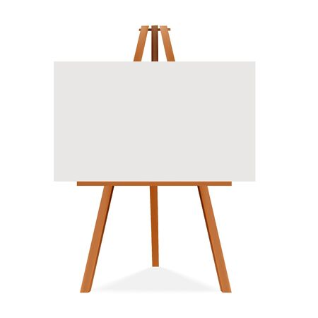 Wooden easel with canvas. Blank space ready for your advertising and presentation. Vector mock up illustration. Vetores