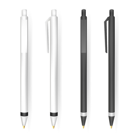 white blank: Vector Set of Blank Black and White Pens.Template for advertising and corporate identity.Mock Up Template Ready For Your Design. Vector Isolated Illustration.