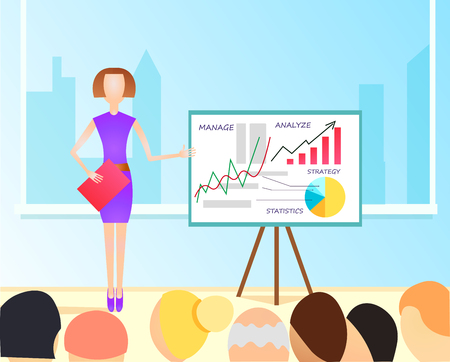project team: Vector Flat  Illustration of business woman making a presentation with the use of a white board showing pie-charts and graphs. Standup meeting with project team and manager. Illustration