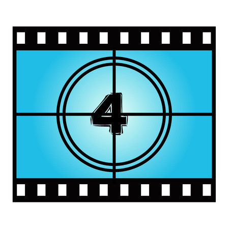 movie screen: Film Screen Countdown Number Four . Vector Movie Illustration Illustration