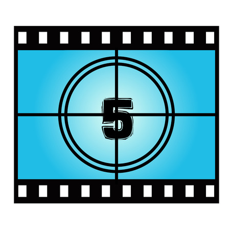 movie screen: Film Screen Countdown Number Five. Vector Movie Illustration Illustration