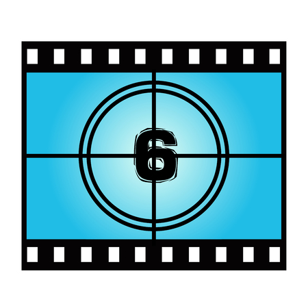 movie screen: Film Screen Countdown Number Six. Vector Movie Illustration