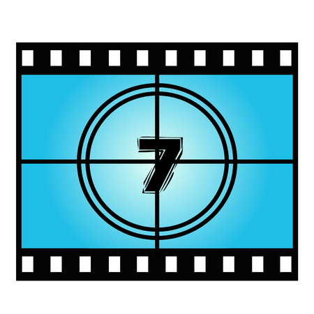 movie screen: Film Screen Countdown Number Seven. Vector Movie Illustration