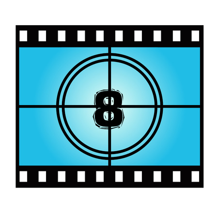 movie screen: Film Screen Countdown Number Eight. Vector Movie Illustration