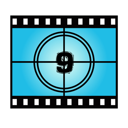 movie screen: Film Screen Countdown Number Nine. Vector Movie Illustration Illustration
