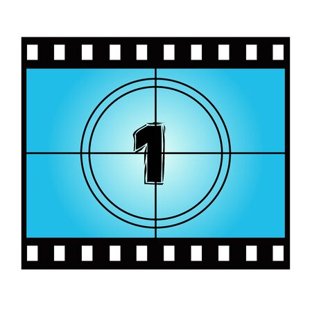 movie screen: Film Screen Countdown Number One. Vector Movie Illustration Illustration