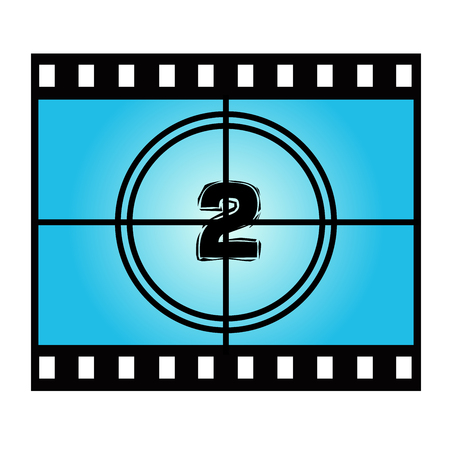 movie screen: Film Screen Countdown Number Two. Vector Movie Illustration Illustration