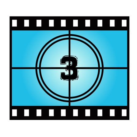 movie screen: Film Screen Countdown Number Three. Vector Movie Illustration