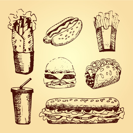 sandwiche: Set with fast food hand drawn illustration. Sketch vector illustration. Fast food restaurant, fast food menu. Hamburger, hot dog, sandwich, snack,  french fries, taco, burger