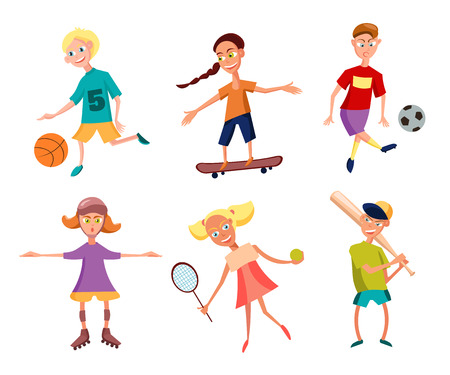 active kids: Collection of Cute Happy Children Playing Sports. Active Kids. Vector Illustration