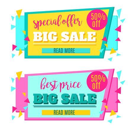 50 off: Big Sale paper banner. Sale background. Sale tag. Sale poster. Sale vector. Special Offer. Shopping Banner Template. 50% off. Vector illustration.