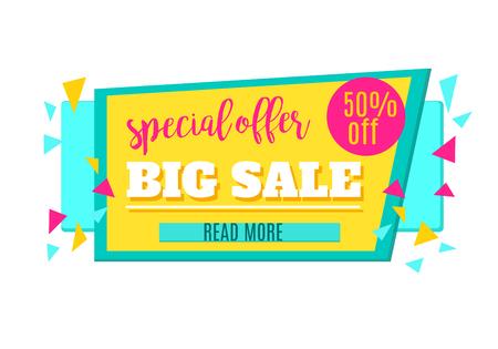 50 off: Super Sale and Special Offer paper banner. Sale background. Sale tag. Sale poster. Sale vector. Special Offer. Shopping Banner Template. 50% off. Vector illustration. Illustration
