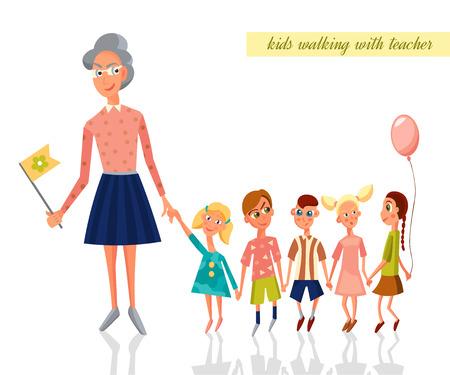 child of school age: Teacher leading kids for a walk in the kindergarten. Children walking. Vector Character Illustration