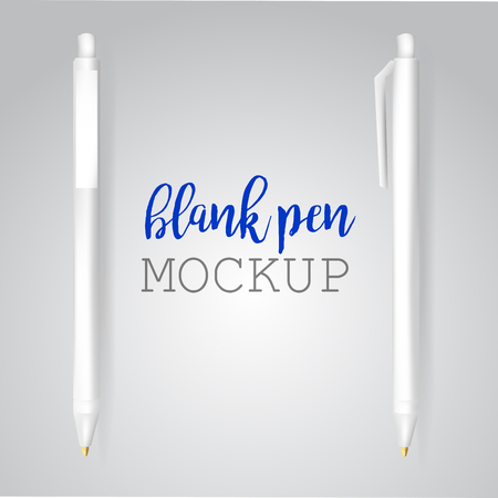 ballpen: Vector Set of Blank White Pens.Template for advertising and corporate identity.Mock Up Template Ready For Your Design. Vector Isolated Illustration.