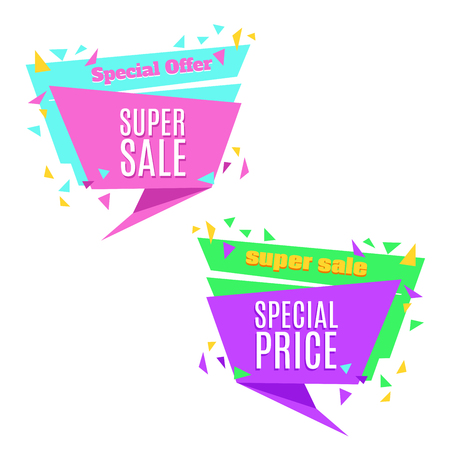 50 off: Super Sale and Special Price paper banner. Sale background. Sale tag. Sale poster. Sale vector. Special Offer. Shopping Banner Template. 50% off. Vector illustration. Illustration