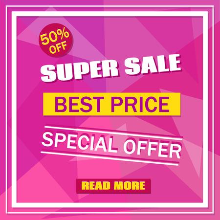 50 off: Super Sale banner on colorful pink background with white frame. Sale background.  Sale tag. Sale poster. Sale vector. Geometric design. Super Sale, best Price and special offer. 50% off. Vector illustration. Illustration