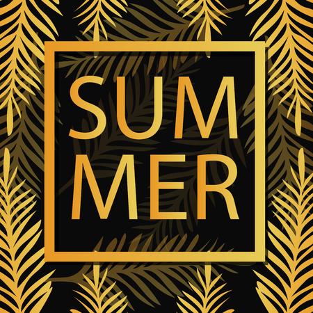 palm branch: Gold Palm leaves pattern black background. Summer Background. Tropic palm. Palm leaf. Palm Branch. Summer gold tropic palm. Gold summer leaves. Gold Square frame. Vector Illustration.