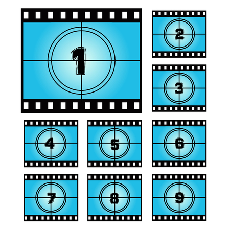 movie screen: Film Screen Countdown Numbers. Vector Movie Illustration